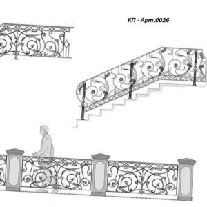 Кованые перила Арт. 0026, 0027